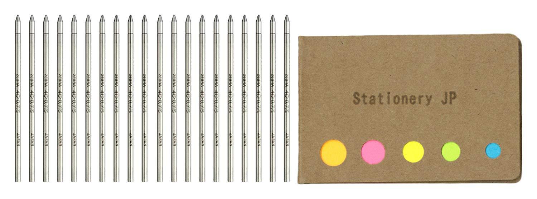 Zebra Ballpoint Pen Refills for T-3 Techo Ball Point Pens & SL-F1 Telescopic Ball Point Pens, Fine Point 0.7mm, Black Ink, 20-pack, Sticky Notes Value Set