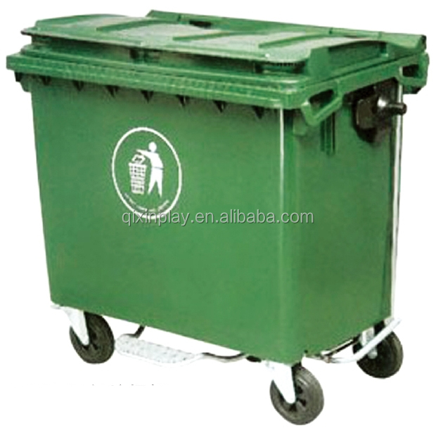 Cheap Outdoor Garbage Can Storage With 4 Wheels Plastic Trash Dumpster Price Qx 150d