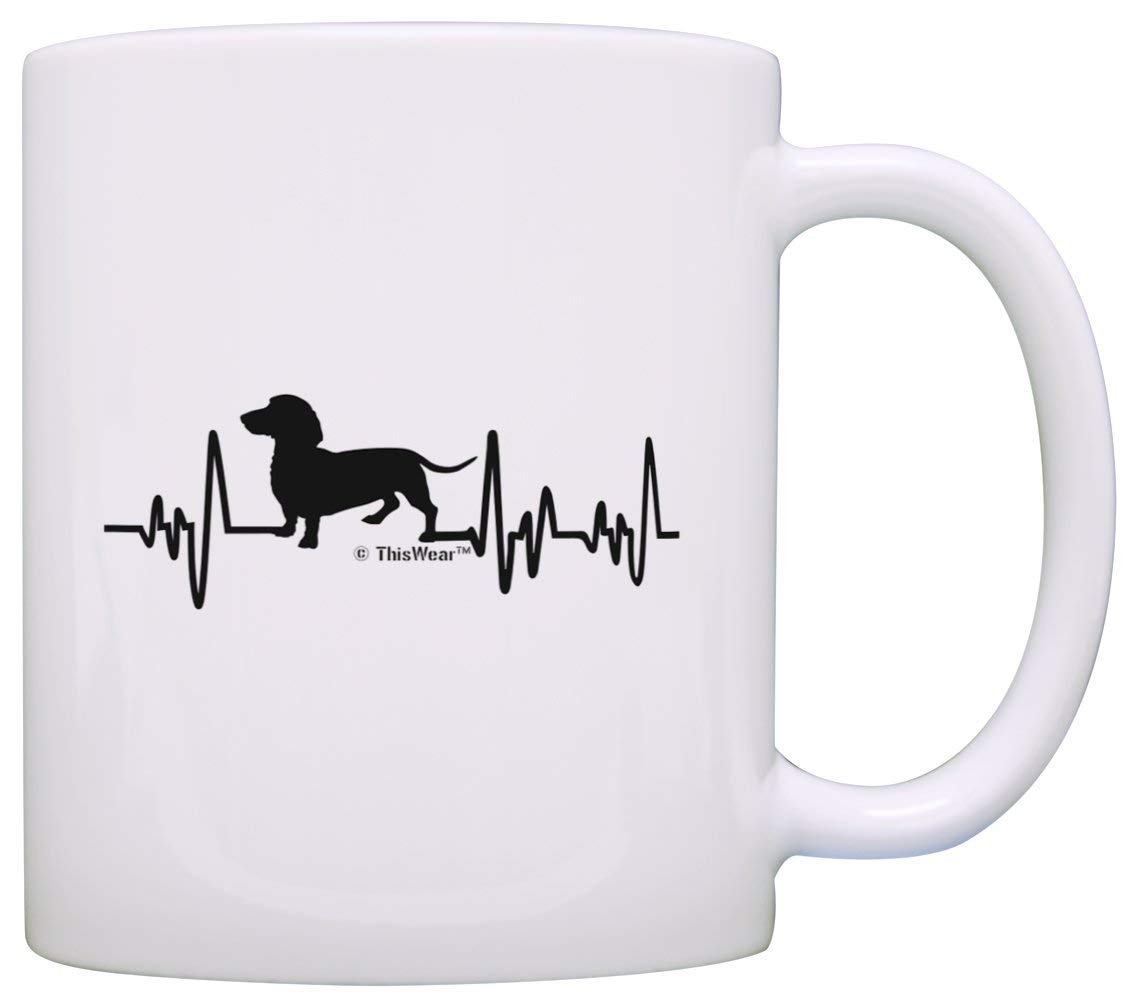 Dachshund Gifts for Women Dog Lover Heartbeat Weiner Dog Dachshund Themed Gifts Dog Dachshund Lover Gift Coffee Mug Tea Cup White