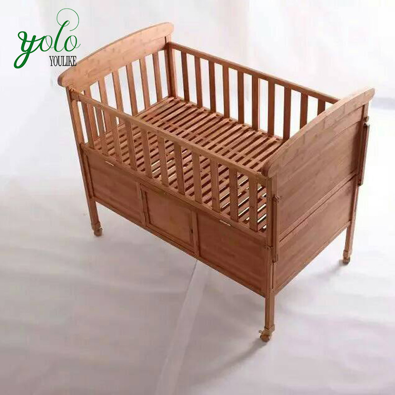 Carved Teak Crib Luxury Wood Baby Swing Cradle Bed with Baby Cot
