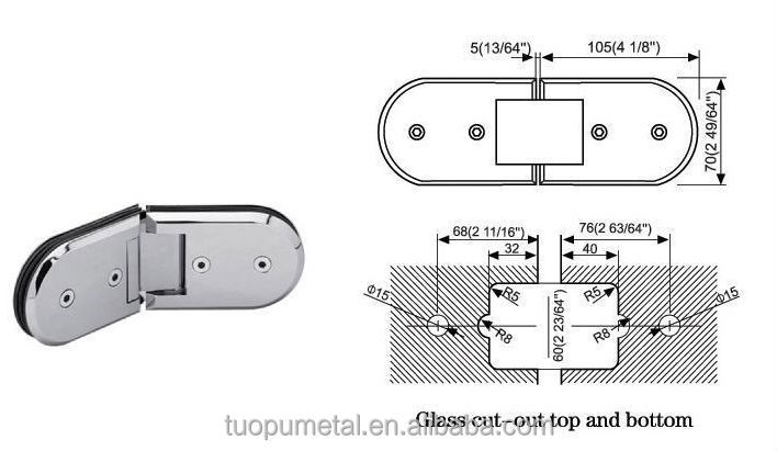 China New Product Stainless Steel Glass Door Hinge180 Degree Open