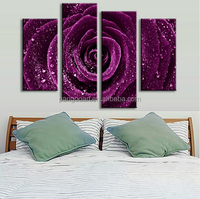 4 Pcs/Set Flower Purple Rose Raindrops Canvas Prints Painting Classical Purple Flower Wall Picture for Living Room Decor