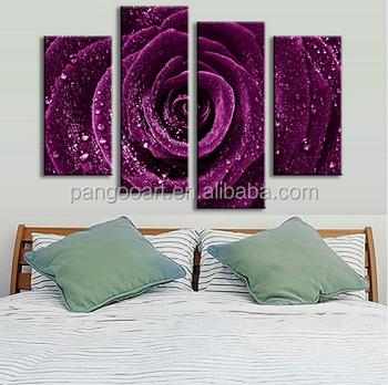 4 Pcs Set Flower Purple Rose Raindrops Canvas Prints Painting Clical Wall Picture