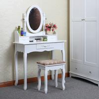 Yasen Houseware Modern Wooden Dressing Table White Mirror,Wood Dressing Table With Full-Length Mirror