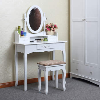 Yasen Houseware Modern Wooden Dressing Table White Mirror,Wood Dressing  Table With Full Length