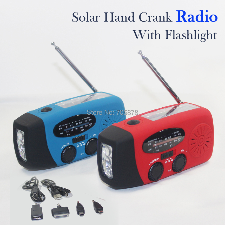 Solar Radio AM FM Hand Crank With Flashlight 3 LED Bright White Light Emergency