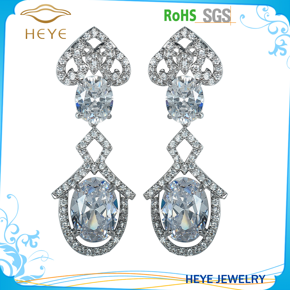 Hot cake sales trendy fashion stone drop earrings pave cz earrings for bridal and wedding