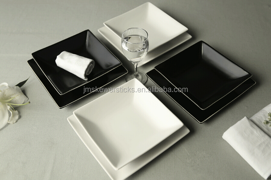 white and black duareble porcelain black square plate set & White And Black Duareble Porcelain Black Square Plate Set - Buy ...