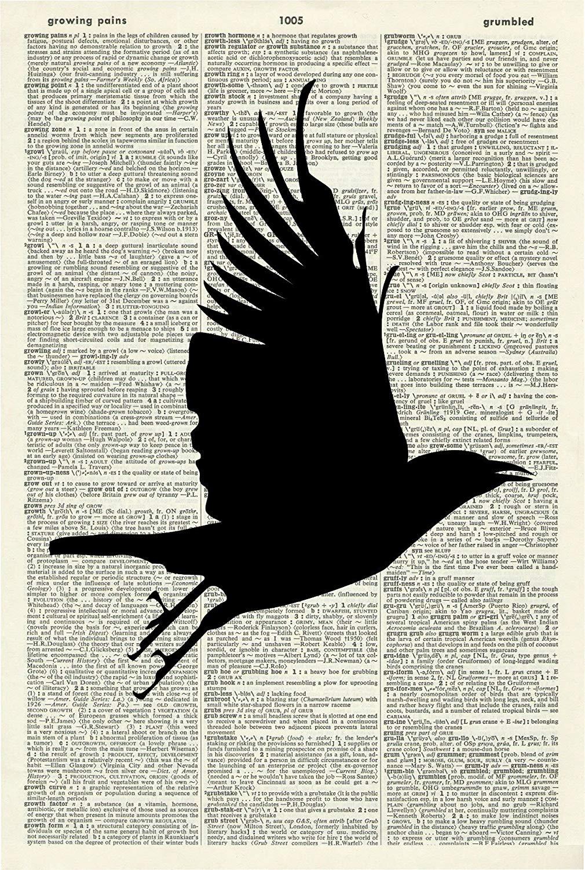 BIRD SILHOUETTE ART PRINT - BIRD ART PRINT - ANIMAL ART PRINT - VINTAGE ART - WALL ART - Vintage Art Print - Illustration - Picture - Vintage Dictionary Art Print - Wall Hanging - Book Print 548D