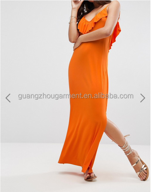 Women Clothes Orange long dress maxi summer Plunge neck Cami straps Frill overlay Split sides dress