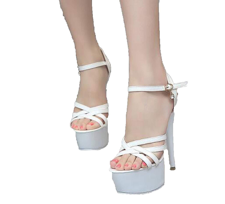 73ad4133366 Get Quotations · Fairy music sandals 2018 New Summer 15cm High-Heels  Waterproof Thick Bottom Sequins Thin Heels