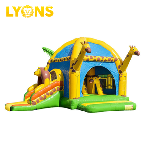 Giraffe Party City Inflatable Bounce House Double Slide Inflatable Moon Bounce