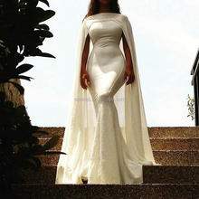White Evening Dresses with Jacket Detachable Jacket Simple Cheap Long Evening Gowns
