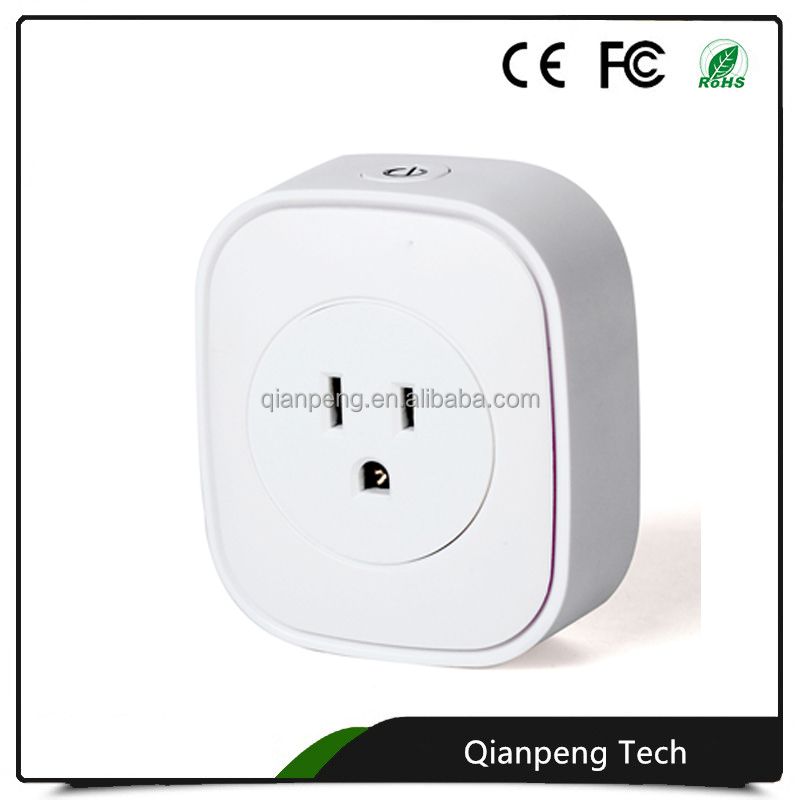Wireless Multifunctional Smart US standard 16A wifi power meter socket for home solutions free APP remote control
