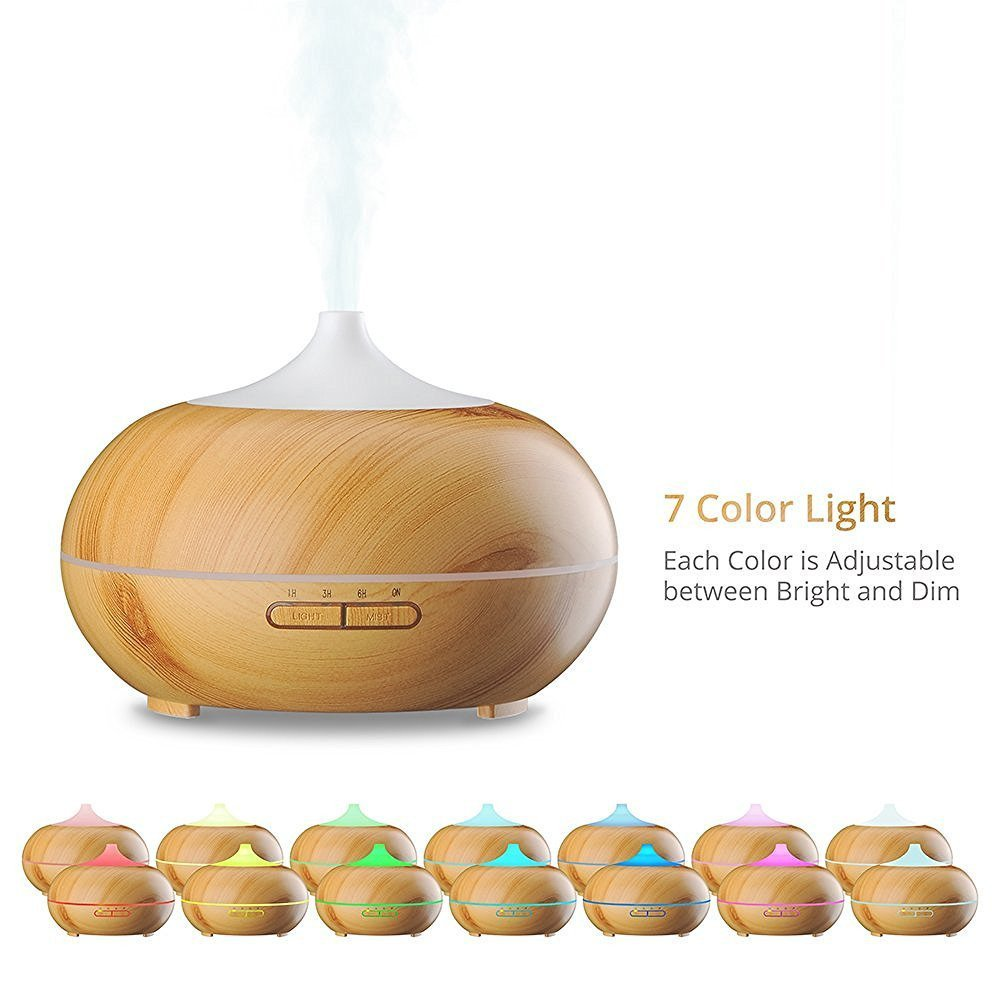 M.E.R.A. 300 ML Aromatherapy Essential Oil Diffuser, Wood Grain 7 Colors Changing LED Lights Ultrasonic Essential Oil Diffuser ( Light Wood Grain)