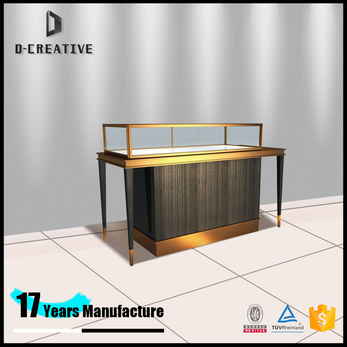 best price metal frame jewelry counter table display blushed stainless steel jewelry display showroom showcase