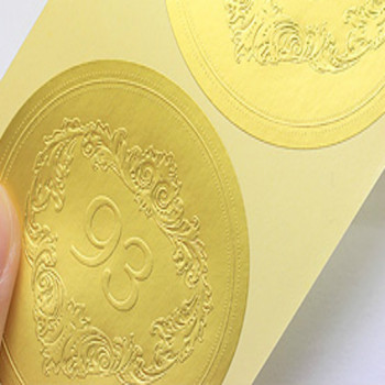 Custom Embossed Gold Foil Adhesive Sticker Business Labels
