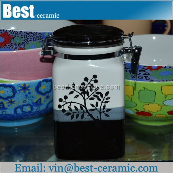 square decal wholesale ceramic sealed canister