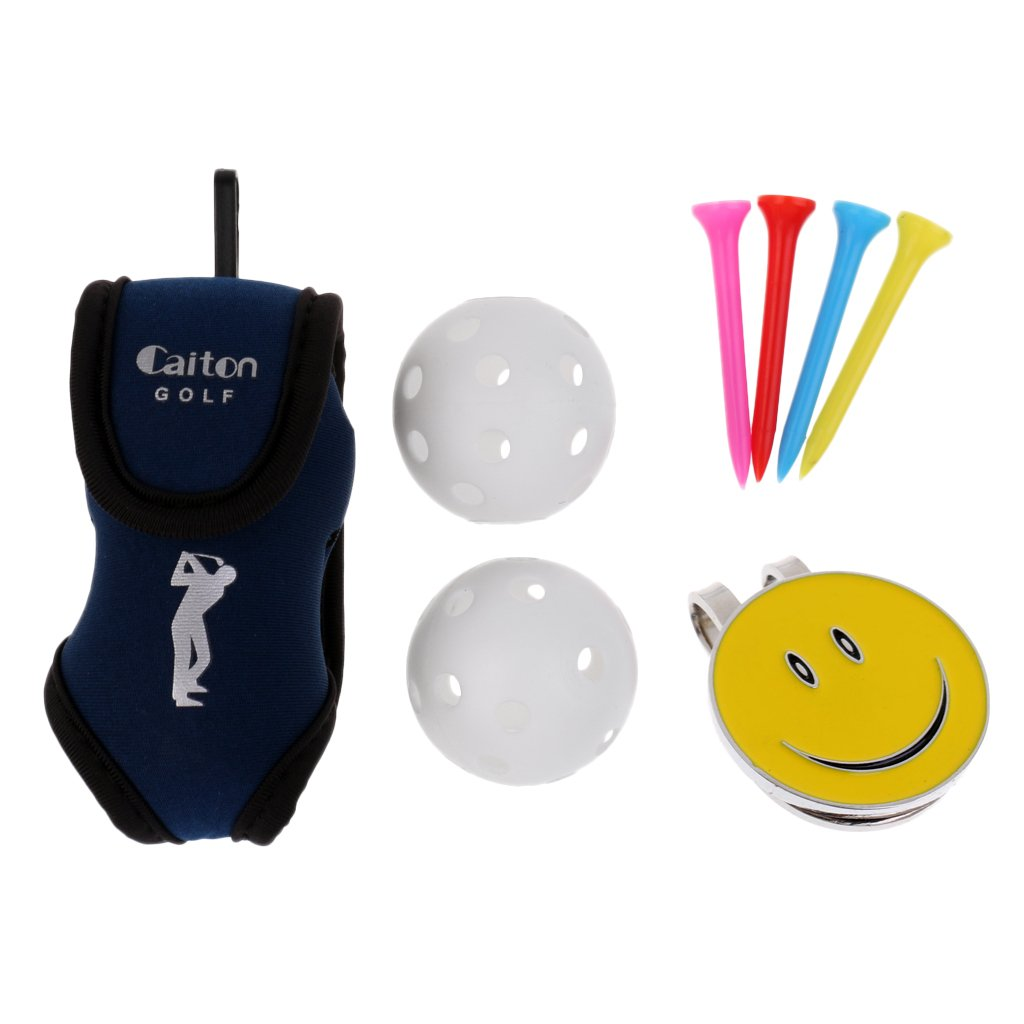 MagiDeal Golf Ball Holder Belt Bag with 2 Balls 4 Tees and Magnetic Cute Smiling Face Visor Clip Golf Ball Marker