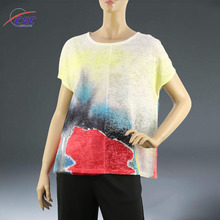 3d Effect and Mesh Stitching Design Woman Full Print T Shirt