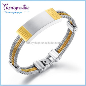 Fashion men's stainless steel gold cable bracelet holder