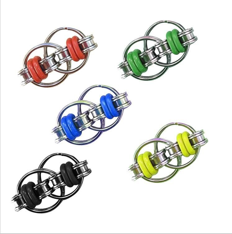 2017 Hot Anxiety Stress Finger Spinner Toys Bike Chain Fidget Stainless Steel Spinner Rings