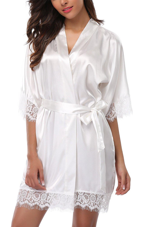Get Quotations · Giova Women s Lace Trim Kimono Robe Nightwear Nightgown  Sleepwear Satin Short Robe 964d14ca5