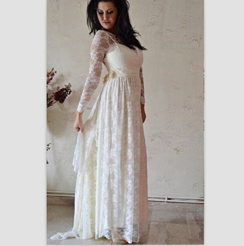 White Wedding Gowns With Sleeves: 2015-Vintage-Pregnant-Wedding-Dress-White-Lace-Beach