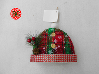 High Quality Wrapped Linen Foam Hat Hanging Christmas Ornament
