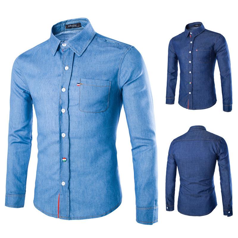 get quotations new arrive fsahion shirt mens denim shirts knitted shirts men slim design for light blue