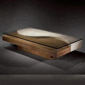 Moderne Beige Travertin Marbre Salon Table Basse Avec Plateau En