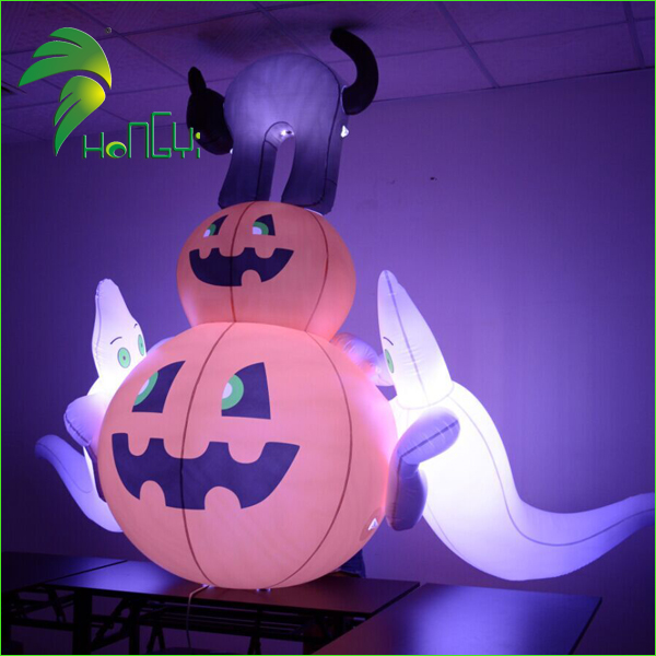 Hot Koop LED Licht Opblaasbare Halloween White Ghost En Pompoen Voor Yard Decoratie