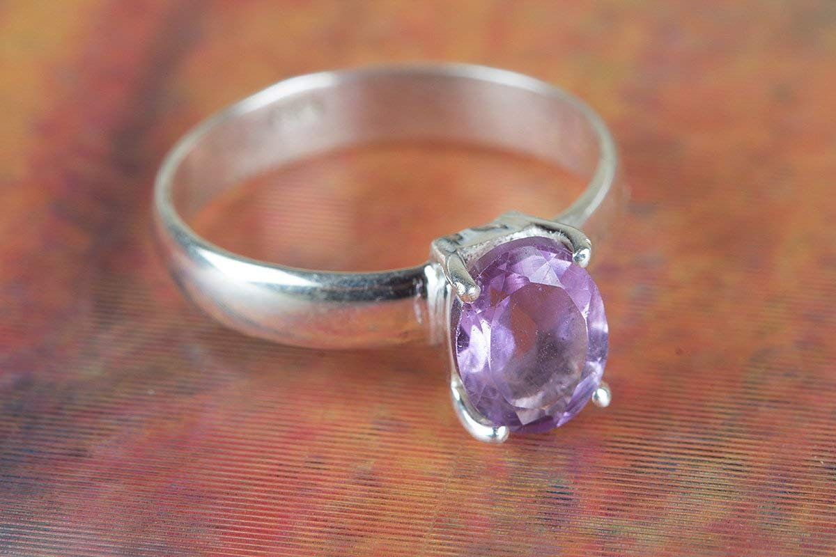Amethyst Ring, 925 Sterling Silver, Prong Ring, Faceted Ring, Minimalist Ring, Prong Ring, Unique Piece, Charming Ring, Bezel Ring, Gorgeous Ring, Extraordinary Ring, Waw Amazing Ring, US All Size