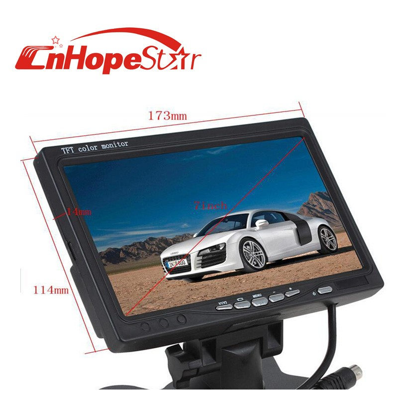 7 inch TFT LCD Color 2 Video Input DVD VCR Car Monitor With Remote and Stand