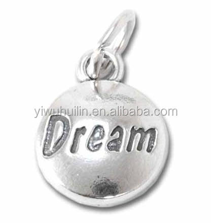 H100914 Yiwu Huilin jewelry Disc letter charms Dream Silver Color Retro Pendant Charm For Jewelry
