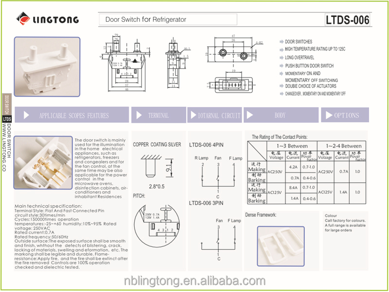 Ltds 006 Samsung Whirlpool Door Switch Da34 10122c