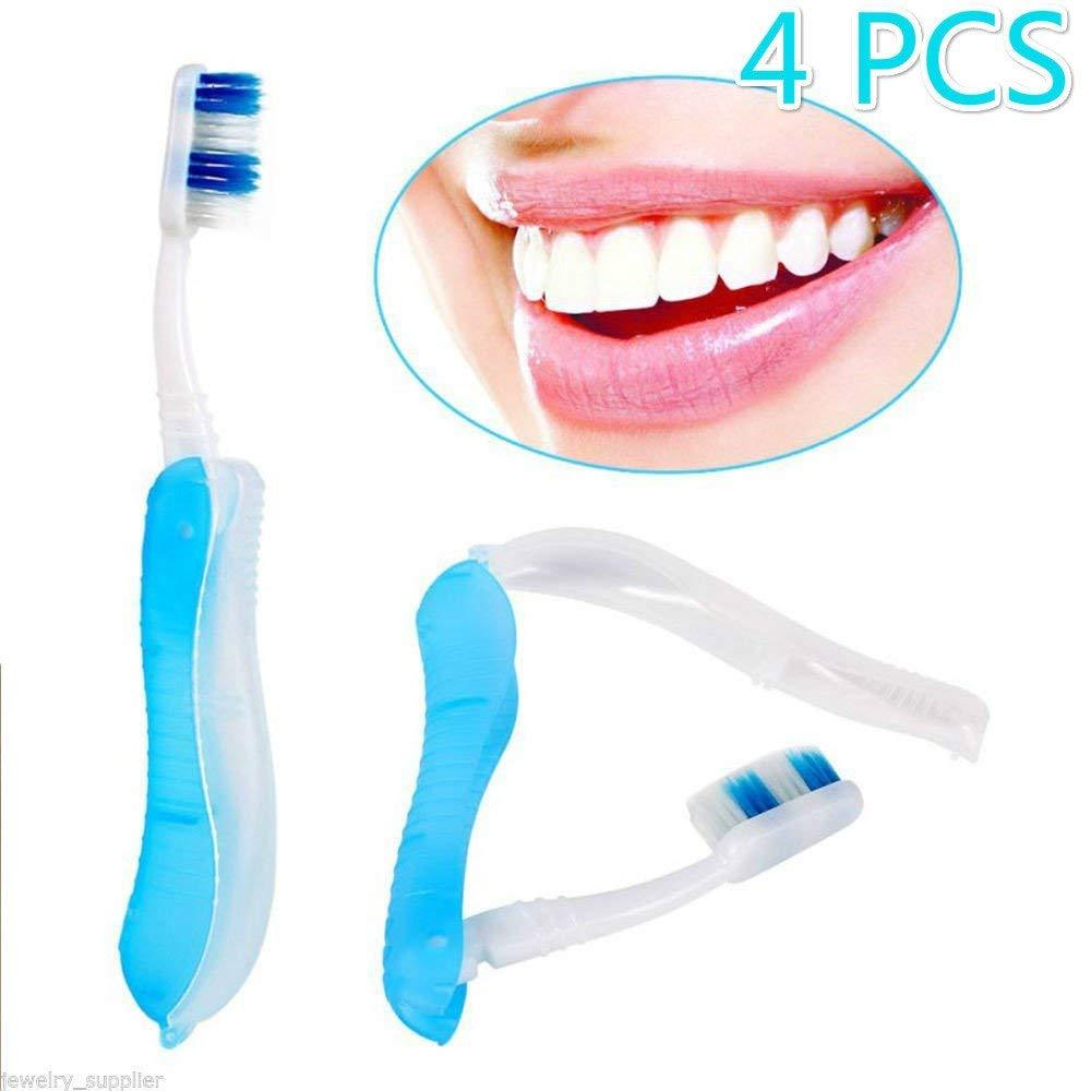 Enshey Travel Toothbrush-4-Packs Blue Fold Up Foldable Outdoor Portable Travel Three Folding Toothbrush Fur Supplies Portable Lightweight Toothbrush