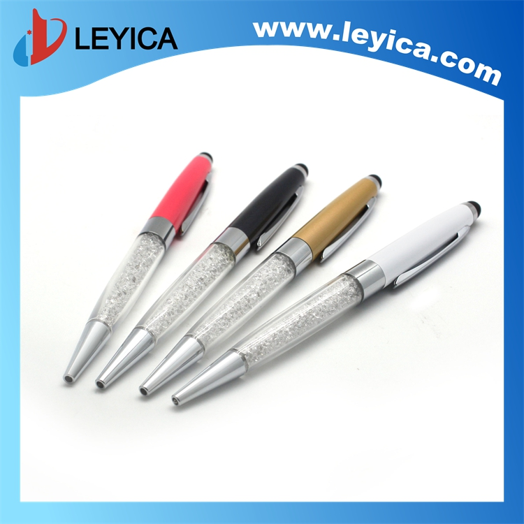 2016New Crystal Stylus Pen Metal Ballpoint Pen for IPad iPod Touch iphone