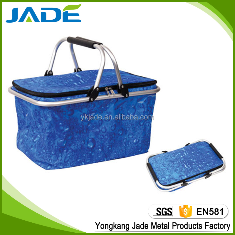 High quality folding cheap storage cooler picnic basket,foldable shopping basket for promotion Jade