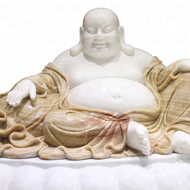 100% hand caved white marble sculpture life-size giant buddha statue for sale