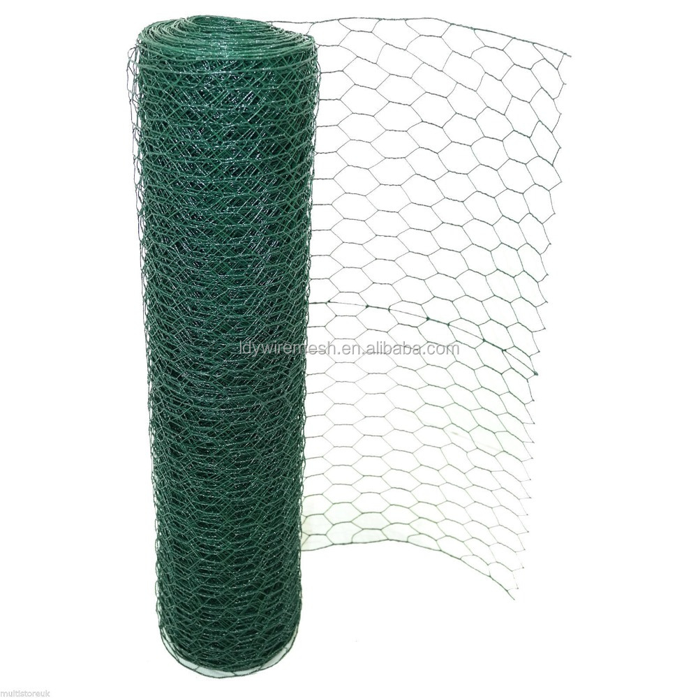 "3/4"" Size Mesh Green Black PVC coated Hexagonal Swamp Mesh Crab Trap Wire"