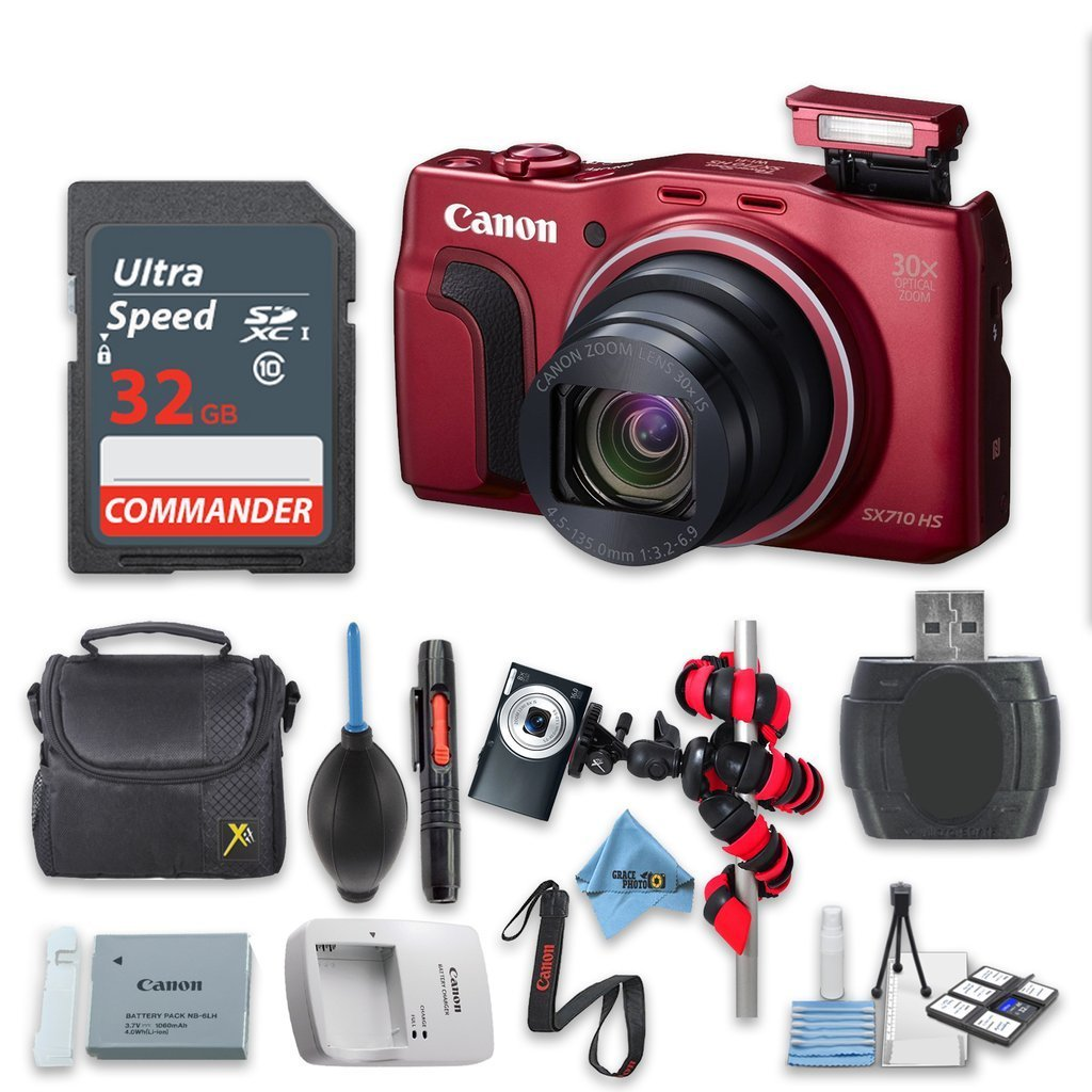 Canon Powershot SX710 HS 20.3MP Camera - Wi-Fi Enabled (Red) with 32GB High Speed Memory Card - International Version (No Warranty)