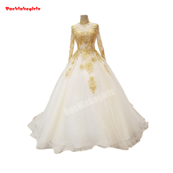 11400 White And Gold Wedding Dresses Gold Thread Embroidery Lace