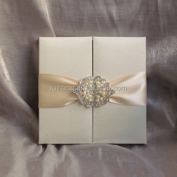 Gatefold Wedding Invitation Box White Silk Invitation Boxes - Buy ...