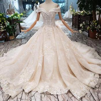 Jancember HTL271  lady's crystal off shoulder ball gown wedding dress luxury bridal gown 2019