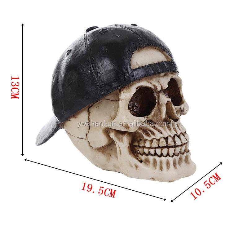 Rapper-Schädel mit Baseballmütze Skeleton Figur Skulptur