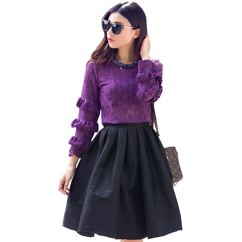 Fashion 2 Piece Set Women 2015 Autumn New Women Clothing Set Hollow Out Lace Tops + Mid-length Skirt Casual women set Clothing