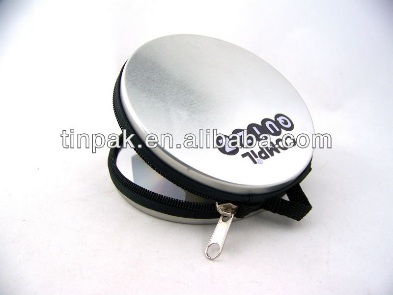 metal round cd tin box with zipper and handle custom