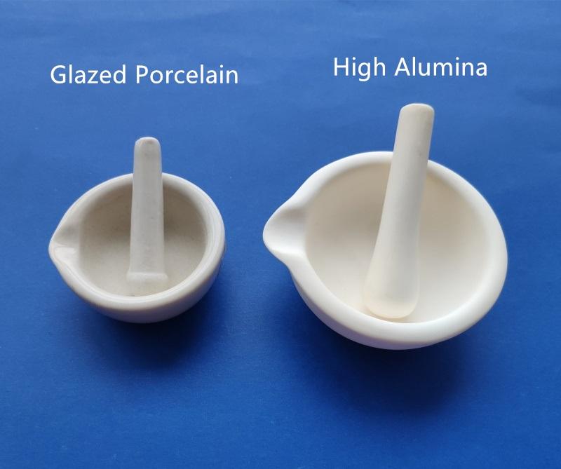 Glazed Pestle and Mortar 10cm White Porcelain