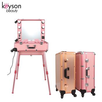 Keyson pink rolling portable makeup studio beauty case with led light